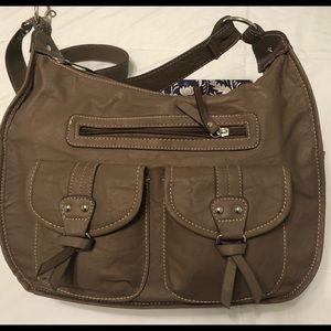 Rosetta polyvinyl taupe shoulder bag, NWOT